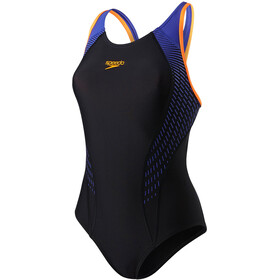 speedo Fit Laneback Swimsuit Dam black/fluo orange/ultramarine